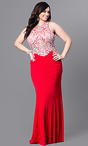 Embroidered Bodice Plus Size Long Prom Dress