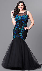 Long Plus Size Mermaid Prom Dress with Embroidery