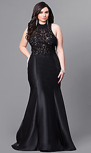 High-Neck Plus Size Prom Dress with Embroidered Bodice