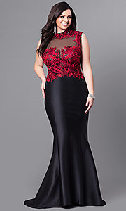 Embroidered Lace Bodice Plus Size Prom Dress