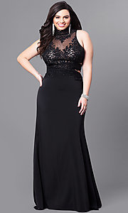 Image of plus-size beaded-lace illusion-bodice prom dress. Style: FB-GL2225P Front Image