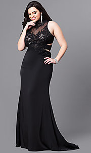 Image of plus-size beaded-lace illusion-bodice prom dress. Style: FB-GL2225P Detail Image 2