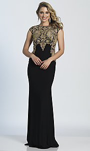 long black prom dress with cap sleeves