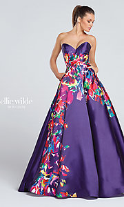 Floral Print Long Prom Dress with Pockets
