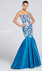 Strapless Teal and Multi Prom Dress