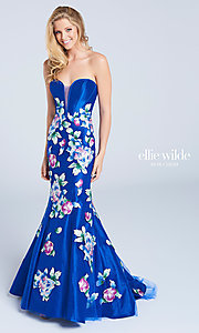 Strapless Embroidered Long Prom Dress