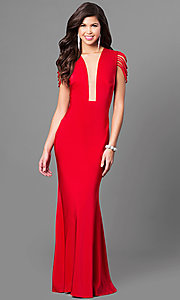 Illusion V-Neck Prom Dress with Strappy Cap Sleeves