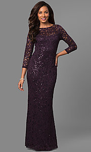Lace Formal Mother-of-the-Bride Dress with Sleeves