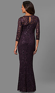 Image of lace formal mother-of-the-bride dress with sleeves. Style: JU-MA-263561 Back Image