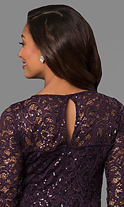 Image of lace formal mother-of-the-bride dress with sleeves. Style: JU-MA-263561 Detail Image 2