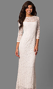 Image of lace formal mother-of-the-bride dress with sleeves. Style: JU-MA-263561 Detail Image 3