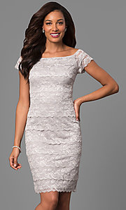 Knee Length Lace Mother-of-the-Bride Short Sleeve Dress