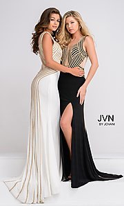 Long Jersey JVN by Jovani Sheer Back Dress