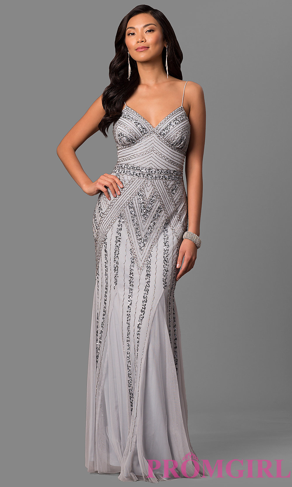 Empire-Waist Sequined Long Prom Dress - PromGirl