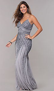 Image of long sequin-embellished prom dress with empire waist. Style: JU-MA-263312 Detail Image 5