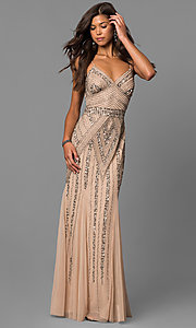 Image of long sequin-embellished prom dress with empire waist. Style: JU-MA-263312 Front Image