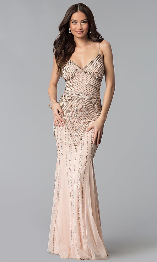 Image of long sequin-embellished prom dress with empire waist. Style: JU-MA-263312 Detail Image 7