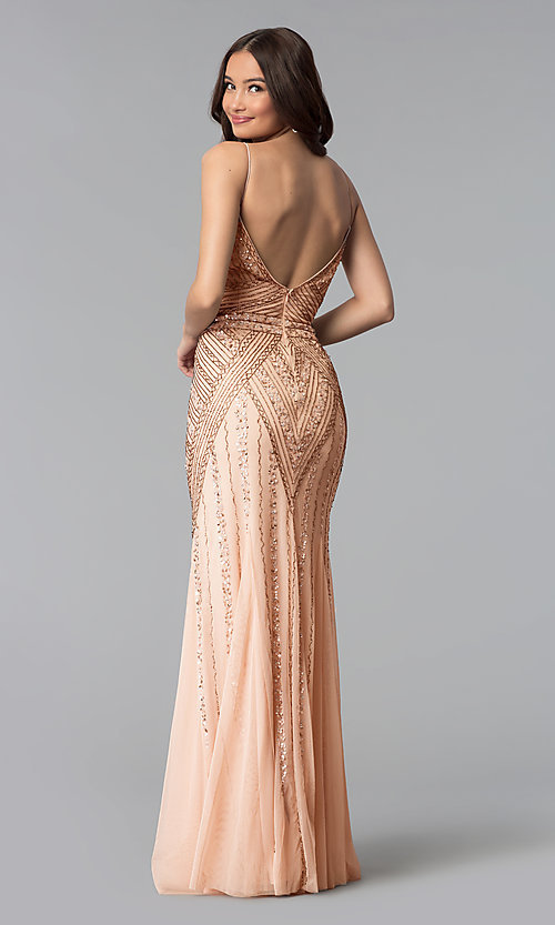Image of long sequin-embellished prom dress with empire waist. Style: JU-MA-263312 Back Image