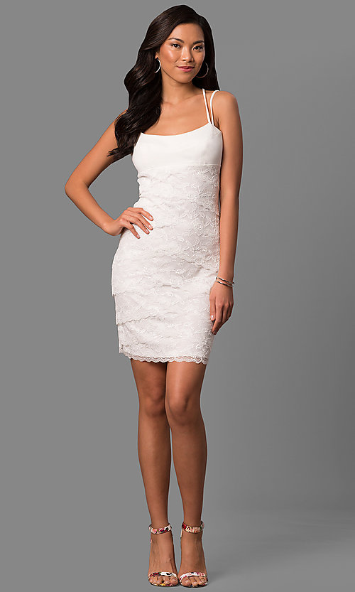 Image of empire-waist short ivory tiered lace party dress. Style: JU-MA-263373 Detail Image 1