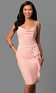 Ruched Waist Short Cowl Neck Wedding Guest Dress