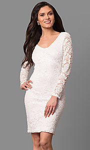 Long Sleeve Lace Graduation Dress with V-Neck