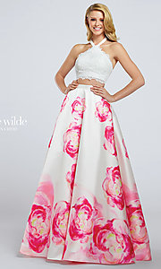 Two-Piece Print Prom Dress with Lace Top