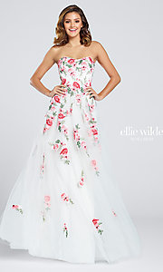 White and Red Embroidered Prom Dress