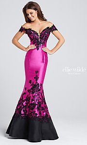 Hot Pink and Black Embroidered Prom Dress
