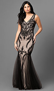 Long V-Neck Embroidered Prom Dress