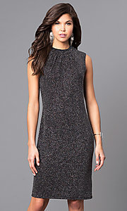 High-Neck Sleeveless Short Glitter Knit Dress