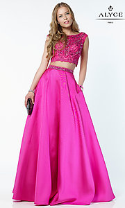 Two Piece A-Line Prom Dress with Cap Sleeves