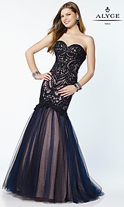 Embroidered Long Mermaid Style Prom Dress