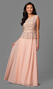 Long Sleeveless Peach Mother-of-the-Bride Dress