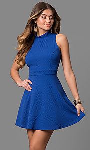 High Neck Eyelet Short Party Dress