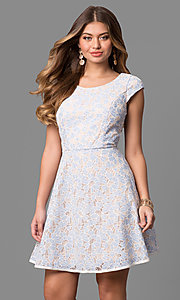 Cap-Sleeve Short Lace Party Dress