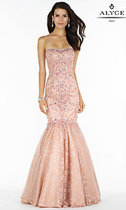 Long Strapless Lace Open Back Prom Dress