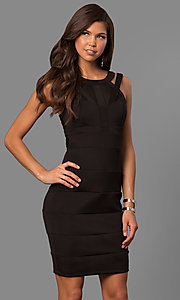 Image of little-black bandage-style party dress with cut outs. Style: EM-FDG-1003-001 Front Image