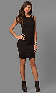 Image of little-black bandage-style party dress with cut outs. Style: EM-FDG-1003-001 Detail Image 1