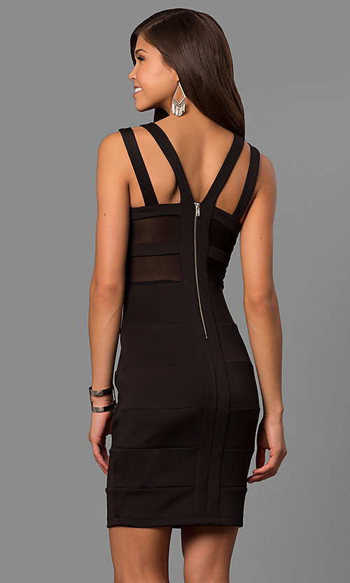Image of little-black bandage-style party dress with cut outs. Style: EM-FDG-1003-001 Back Image