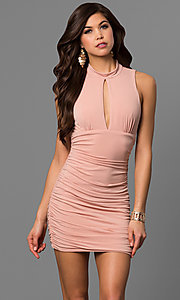 High Neck Short Ruched Party Dress