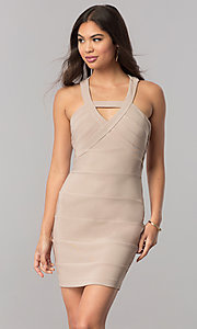 Short Bodycon Stone Nude Party Dress with Cut Outs