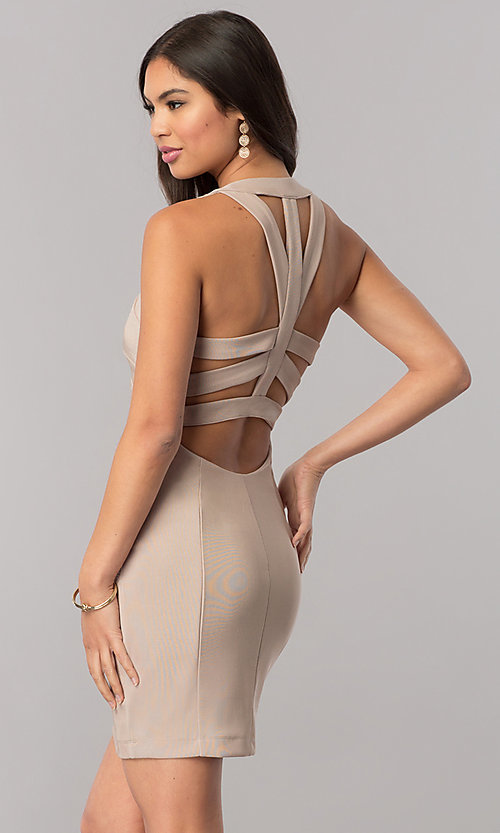 Image of bodycon stone nude party dress with cut outs. Style: EM-EYS-1027-267 Back Image