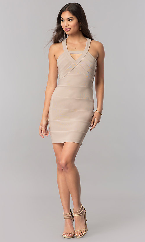 Image of bodycon stone nude party dress with cut outs. Style: EM-EYS-1027-267 Detail Image 1