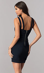 Image of short high-neck navy blue party dress with ruching. Style: EM-FFG-1027-430 Back Image
