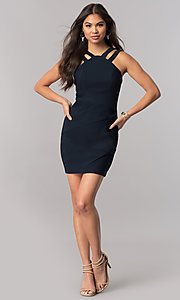 Image of short high-neck navy blue party dress with ruching. Style: EM-FFG-1027-430 Detail Image 1