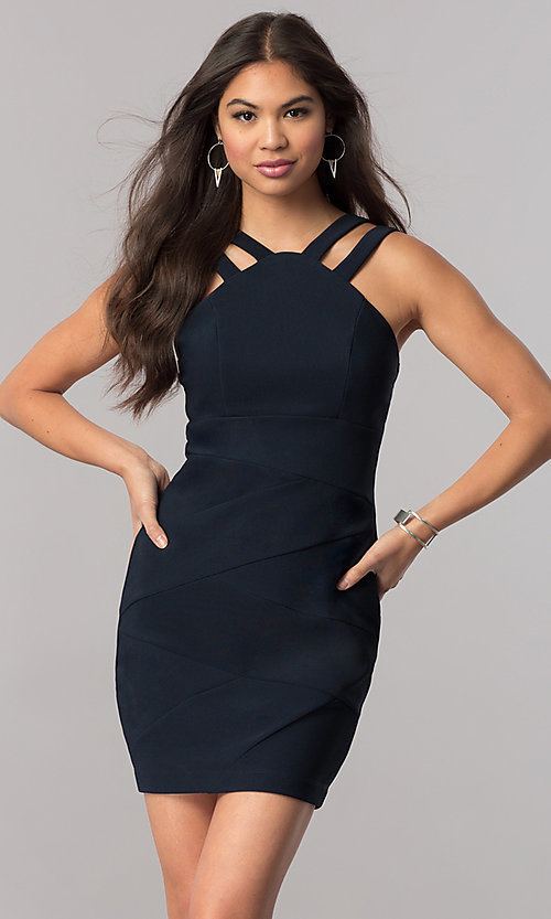 Image of short high-neck navy blue party dress with ruching. Style: EM-FFG-1027-430 Front Image