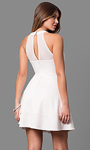 Image of short ivory white graduation dress with cut outs. Style: EM-EVT-1003-120 Back Image
