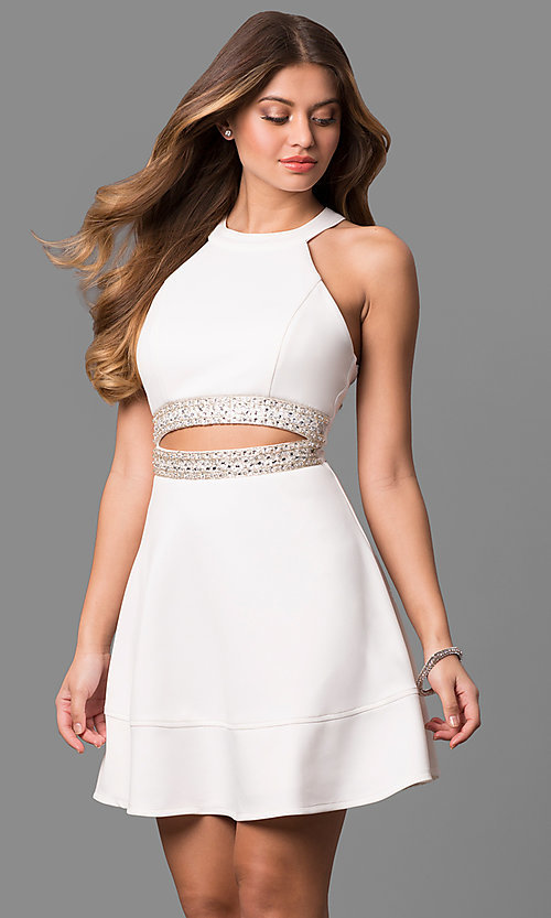 Image of short ivory white graduation dress with cut outs. Style: EM-EVT-1003-120 Front Image