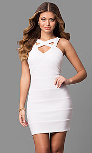 Short White Bandage-Striped Graduation Party Dress
