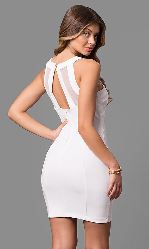 Cheap Short White Graduation Party Dress- PromGirl